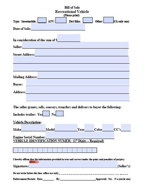 Mass Boat Registration Bill Of Sale by Free Massachusetts Atv Snowmobile Bike Bill Of Sale Form