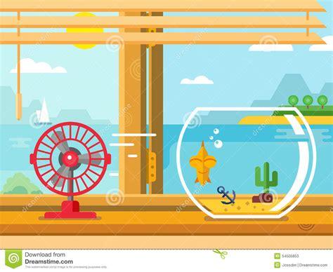 Fan Und Aquarium Auf Fensterbrett Nahe Bei Offenem Fenster