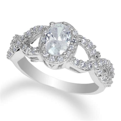 ladies 14k rhodium plated white gold fashion ring with