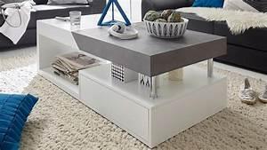 Höhenverstellbarer Couchtisch Weiß : couchtisch hopes beistelltisch in wei matt lack und beton ~ Whattoseeinmadrid.com Haus und Dekorationen