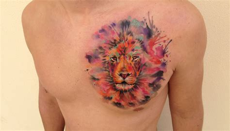 animals tattoo  lion  chest tattoo