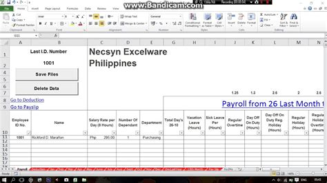 philippines simple payroll system  excel part youtube