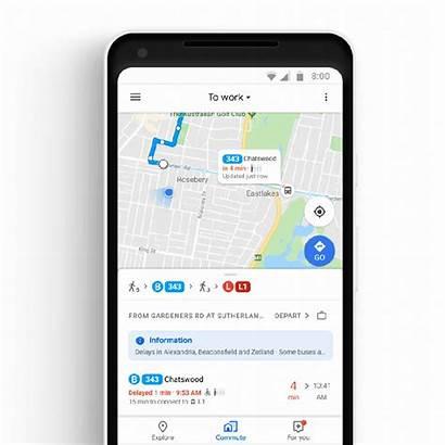 Maps Google Bus Train Tab Map Commute