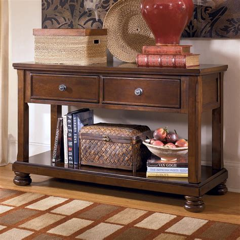 sofa tablemedia console  drop front drawers  signature design  ashley wolf furniture
