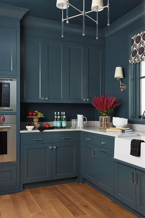 sherwin williams sw  mount etna blue cabinet paint