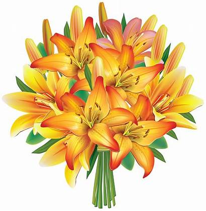 Bouquet Flowers Flower Clipart Yellow Clip Lily