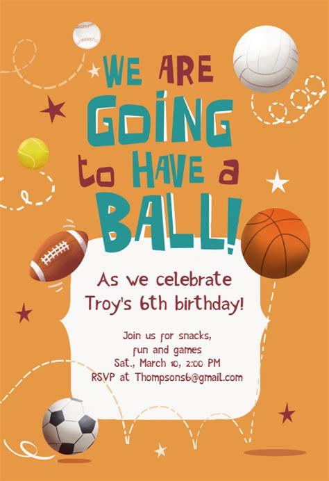 celebrate  birthday sports games invitation