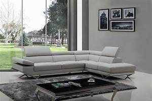 divani casa quebec modern light grey eco leather sectional With sectional sofa lighting ideas