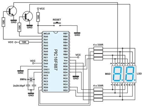 Two Digit Led Counter Multiplexing Circuit Diagram