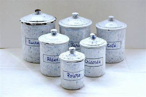 blue and white kitchen canisters vintage french enamel kitchen canisters blue and white enamelware gra