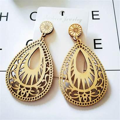 Earrings Wooden Wood Teardrop Jewelry Wholesale Toaster