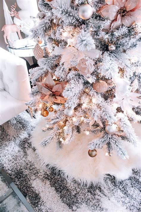 blush pink rose gold white christmas decor