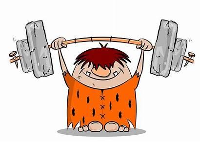 Cartoon Caveman Keeping Keep Weight Lifting Clipart