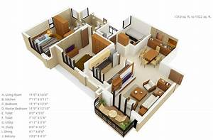 """50 Three """"3"""" Bedroom Apartment/House Plans Architecture"""