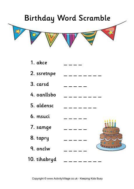 birthday word scramble birthday words teacher party