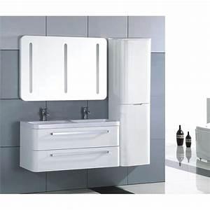 meuble salle de bain bois massif blanc laque achat With meuble salle de bain blanc laqué brillant
