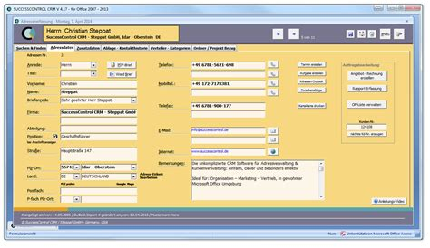 presse information successcontrol crm software