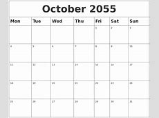 October 2055 Blank Calendar
