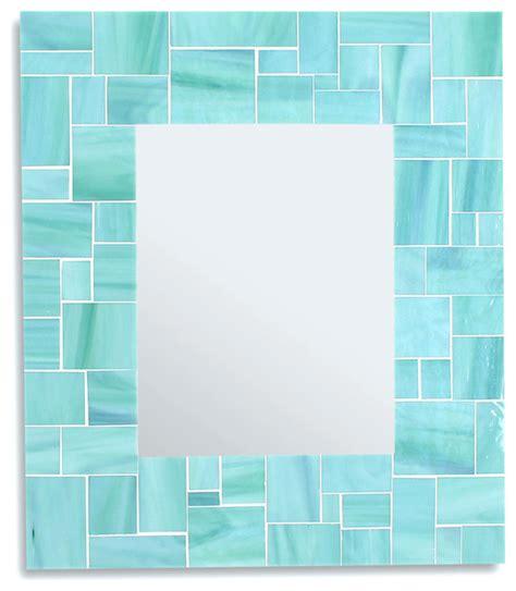 green sea glass bathroom accessories decorative sea green mosaic bathroom wall mirror in