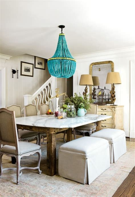 turquoise beaded chandelier transitional dining room