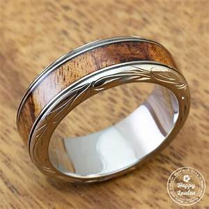titanium ring with koa wood inlay hand engraved with With hawaiian mens wedding rings