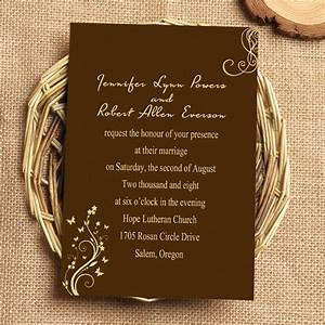 Chocolate brown vine wedding invitation iwi043 wedding for Chocolate wedding invitations printable