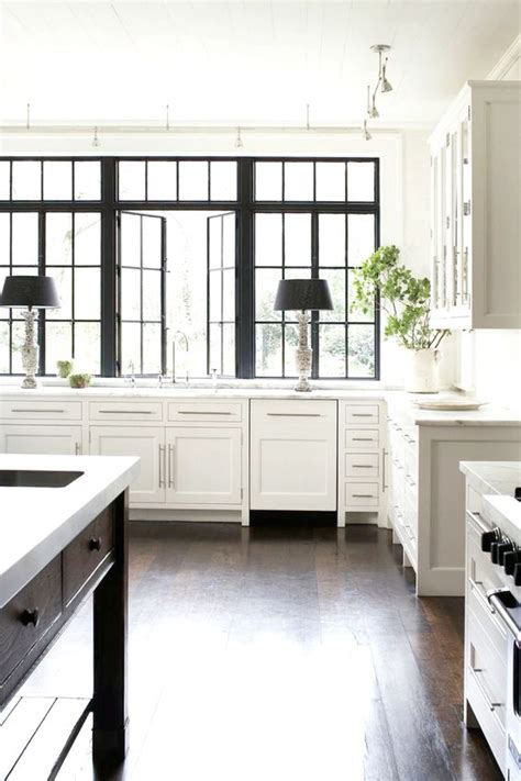 stunning kitchens with big windows beautiful white kitchen with black frame windows 25