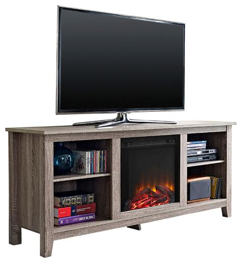 entertainment center with fireplace insert 58 quot driftwood tv stand with fireplace insert