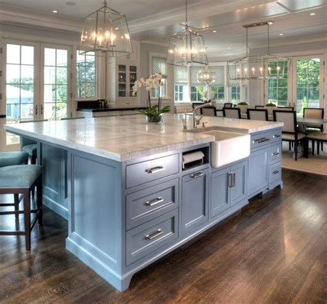 large kitchen design chalk painted large island with reddish brown wooden 3656