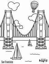 Coloring Gate Bridge Golden San Francisco sketch template