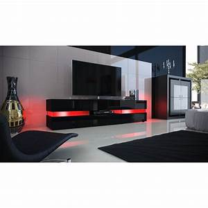 Meuble Tv Led Noir : meuble design enti rement laqu noir avec led pour meubles tv desig ~ Teatrodelosmanantiales.com Idées de Décoration