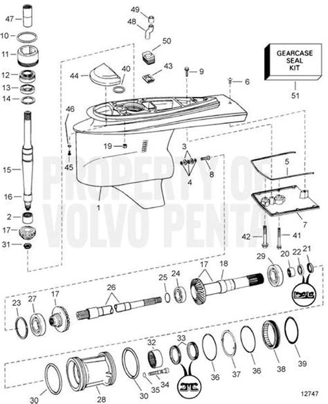 volvo penta exploded view schematic  gear unit dp