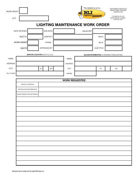 Free Printable Work Order Template 6 Best Images Of Standard Work Excel Template Free Excel