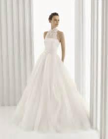 brautkleider aus tã ll a line rosa clara bridal gown with high neck lace halter neckline onewed