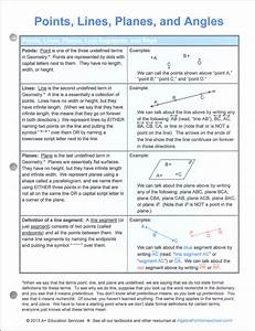 Points  Lines  Planes  U0026 Angles Quick Reference Guide