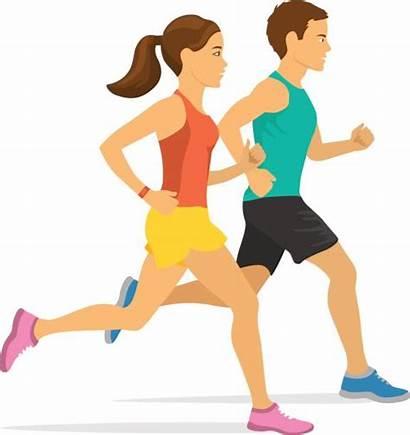 Jogging Couple Running Woman Clipart Clip Vector