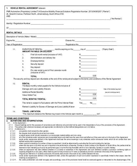 car rental agreement templates  word  apple