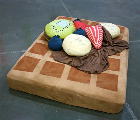 pancake floor pillows waffle bed with syrup sheets and fruit pillows