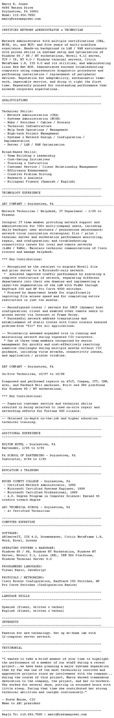 Plain Text Version Of Resume by Ascii Plain Text Resume Sle