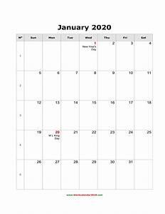 Blank Calendar For January 2020