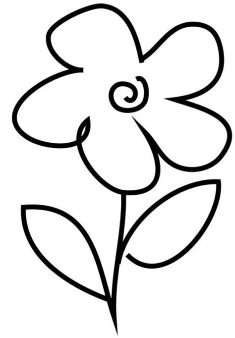 very simple flower coloring page for preschool crafts