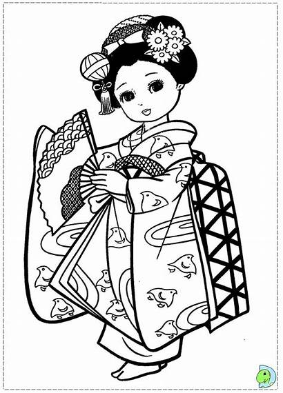 Coloring Japanese Kimono Japan Dinokids Coloriage Kokeshi