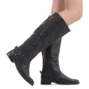 womens flat leather boots canada womens wide calf black stretch leather look flat boots size 3 8 ebay