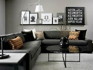 Meuble Salon Noir : salon noir gris rose solutions pour la d coration int rieure de votre maison ~ Teatrodelosmanantiales.com Idées de Décoration