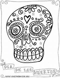 dia de los muertos sugar skull coloring pages for kids ...
