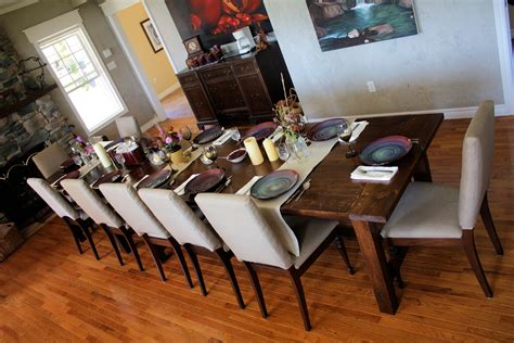 white big farmhouse dining table and bench