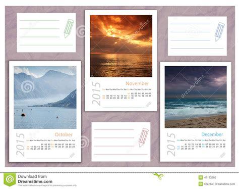 2015 Photo Calendar With Minimalist Landscape Stock Illustration