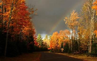 Autumn Wallpapers Road Desktop Rainbow Laptop Leaf