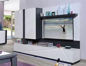 Meuble Gris Laqué : ensemble de meubles pour espace tv meuble lumineux moderne ~ Nature-et-papiers.com Idées de Décoration