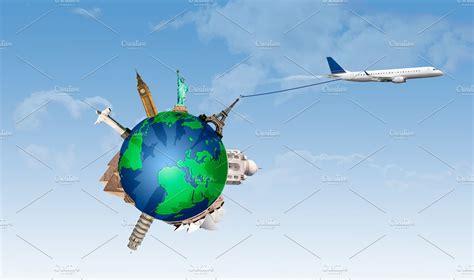 Plane Pulling The World Travel ~ Illustrations ~ Creative